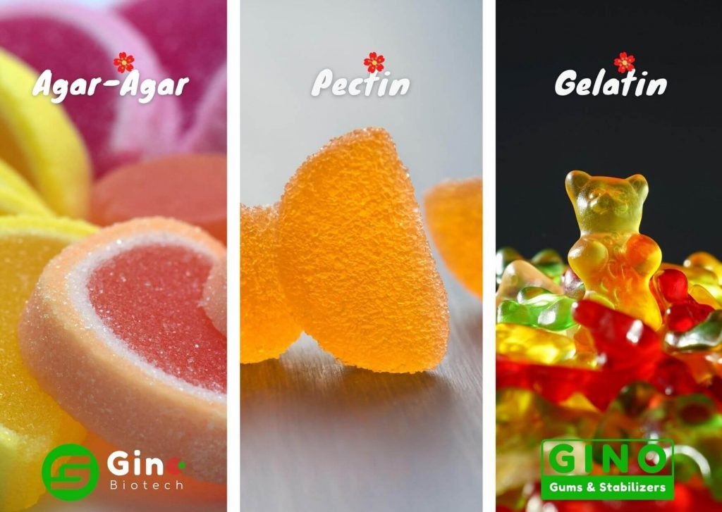 Other hydrocolloids used in soft candies include gelatin, agar, pectin, modified starch, etc.